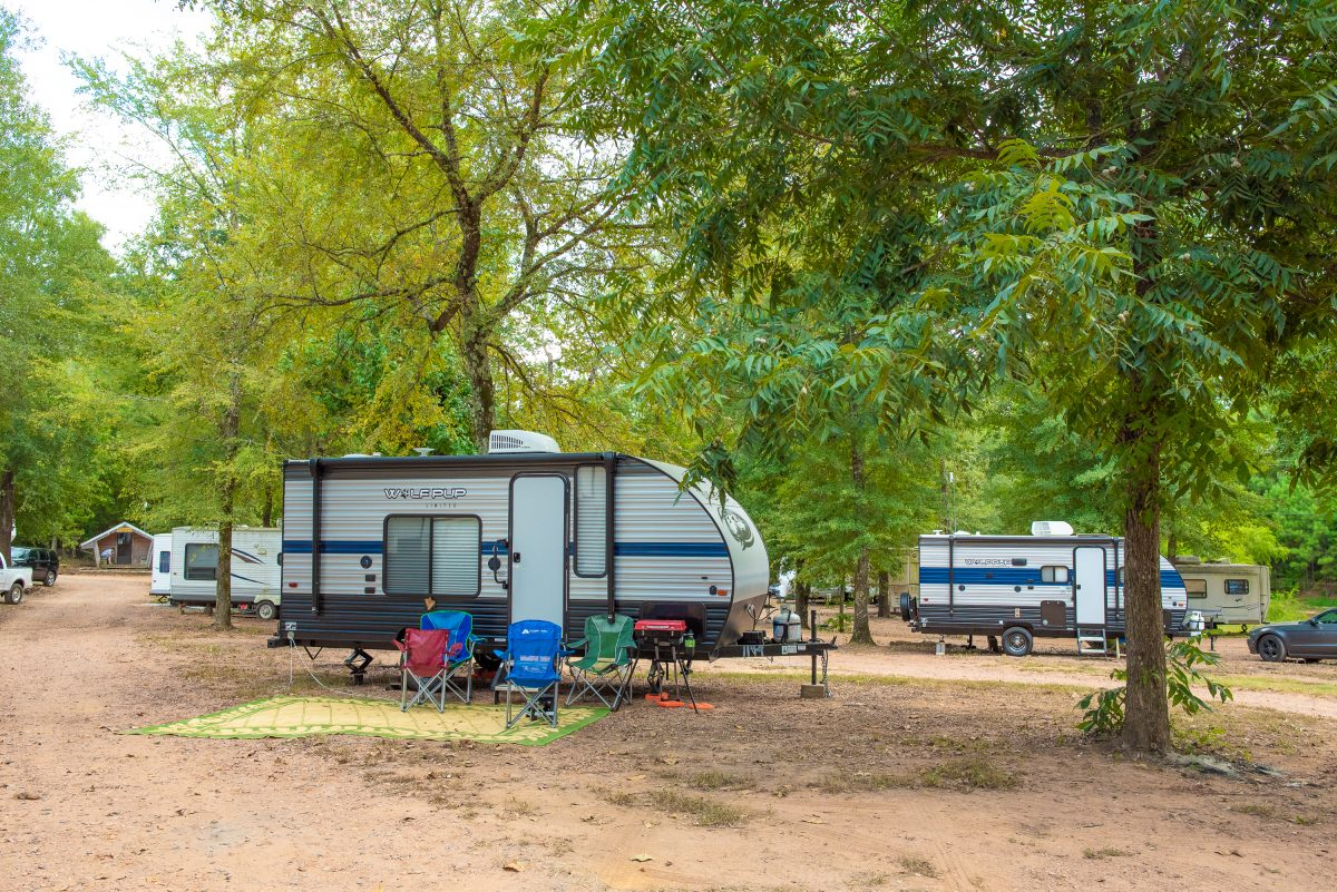 RV campsites at Timberline RV Park in Marshall, Texas.