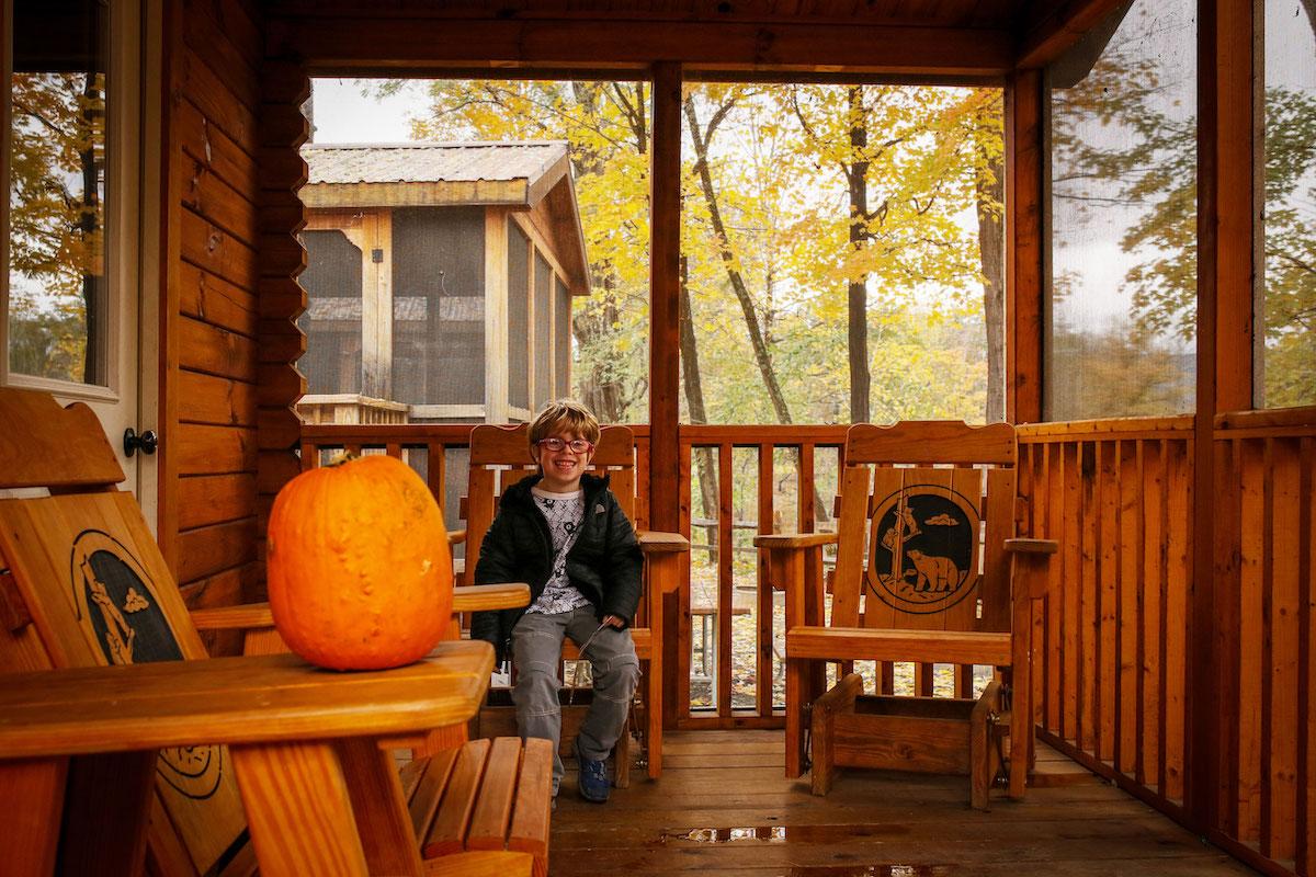 fall camping in cabin