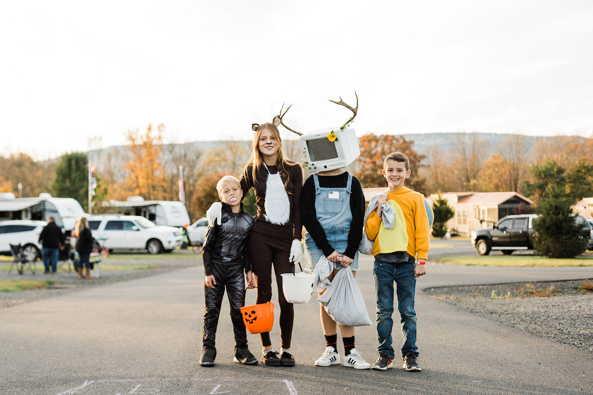 Children dressed up for trick-or-treating