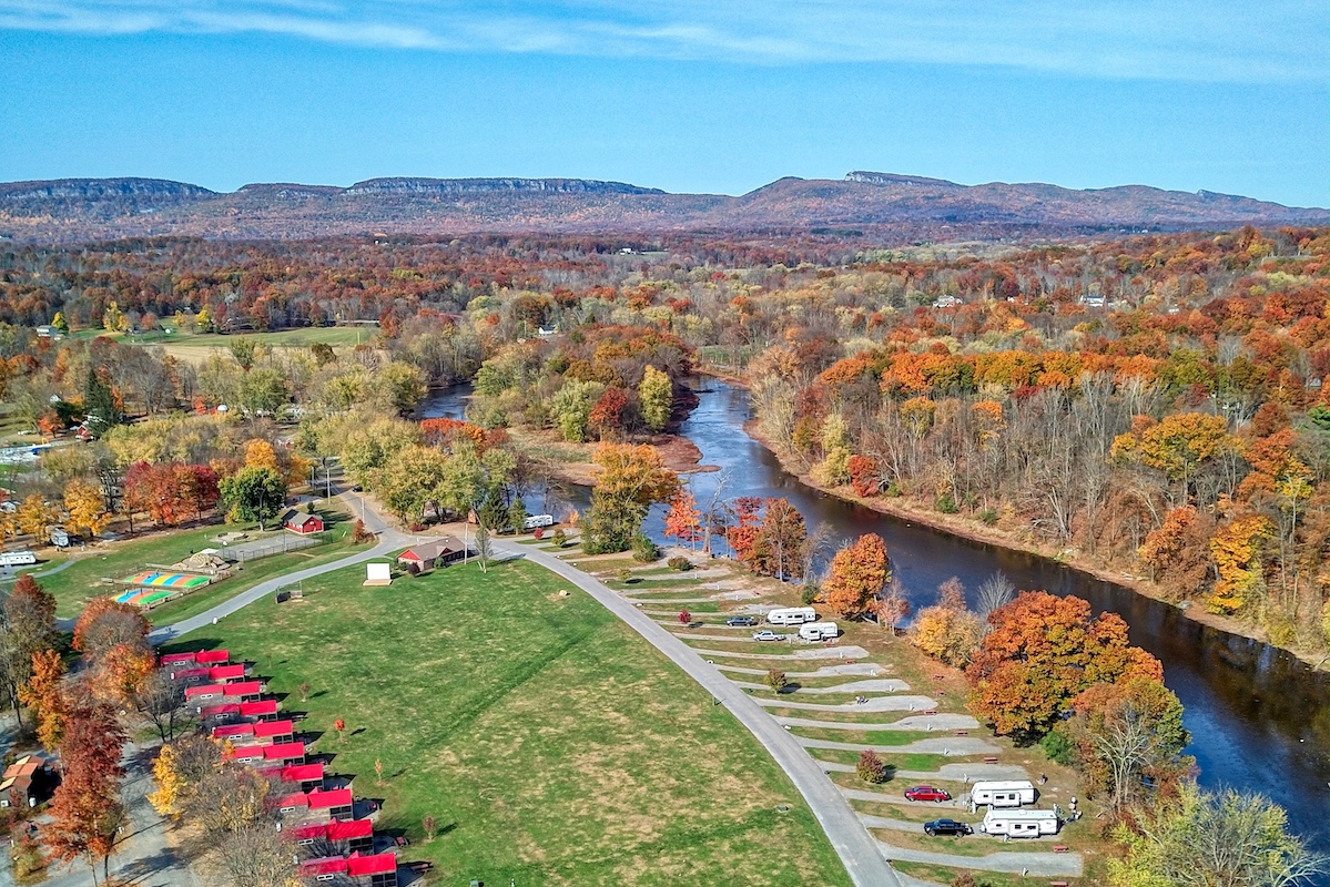 Drone shot of fall campground NYC