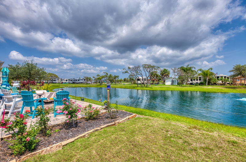 The pond and relaxation area at Southern Oaks RV Resort in Aransas Pass, Texas.