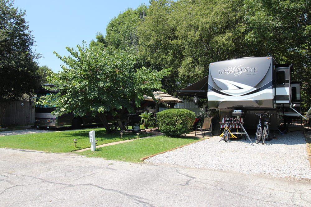 RV sites at Treetops RV Resort in Arlington, Texas.
