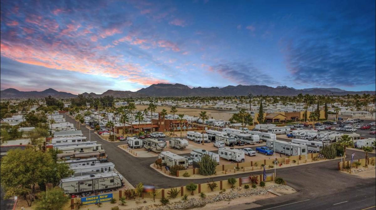 RVs parked at the Mesa Sunset RV Resort in Mesa, AZ.