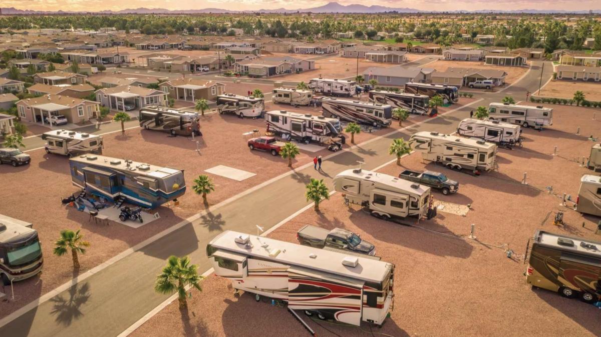 RVs parked at the Palm Creek RV Resort (55+) in Casa Grande, AZ.