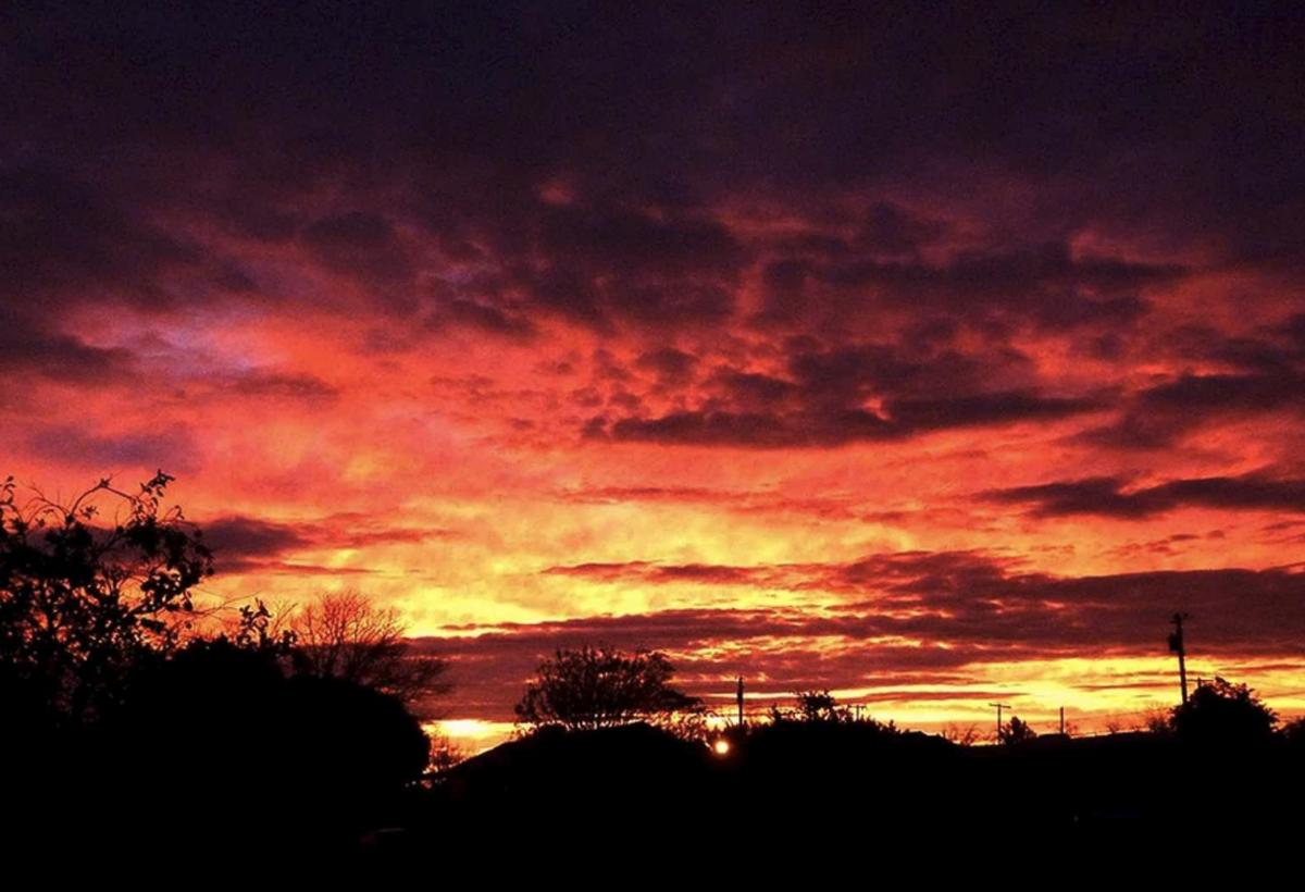 The sunset at Rolle's Lynda Vista RV Park (55+) in Yuma, AZ.