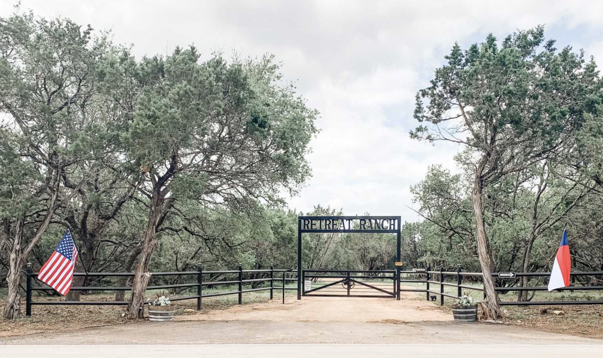 The entrance at The Retreat Ranch in Marble Falls, Texas.