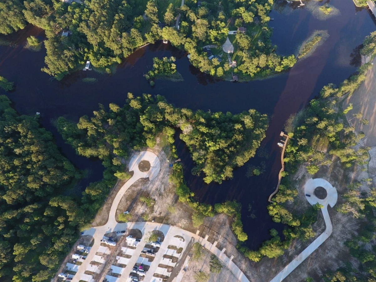 A birds-eye view of The Retreat RV & Camping Resort in Huffman, Texas.