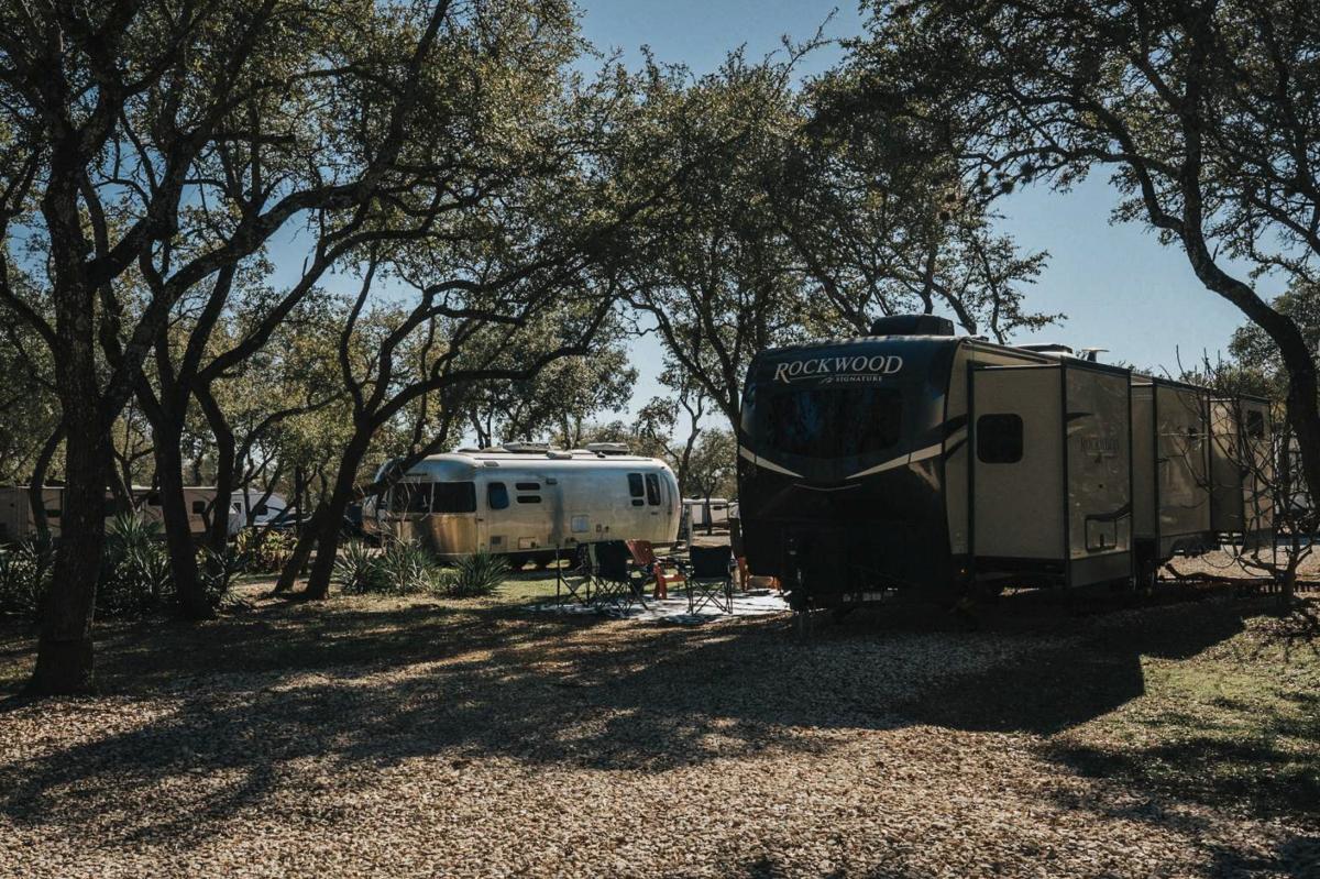 RV sites at Big Oaks RV Park in Cedar Park, Texas.
