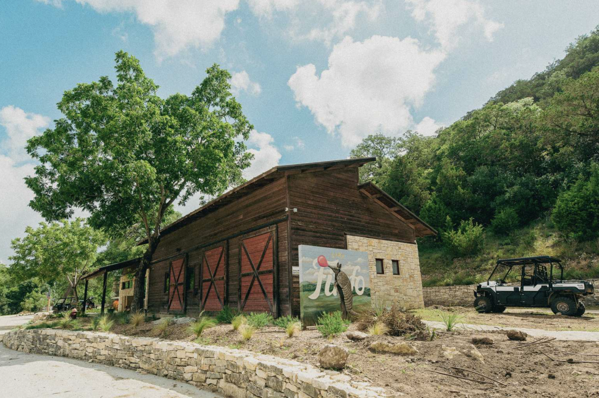 The club house and general store at Camp Fimfo in New Braunfels, Texas.