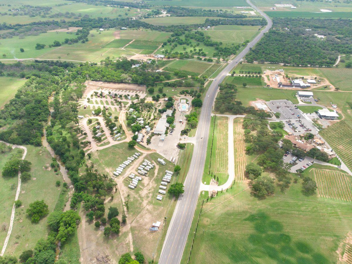 An aerial view of Yogi Bear's Jellystone Park™ Camp-Resort: Fredericksburg in Fredericksburg, Texas.