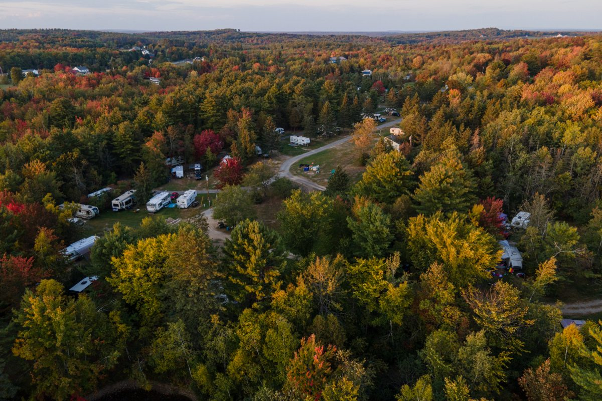 An aerial view of Pleasant Hill Campground in Hermon, Maine.
