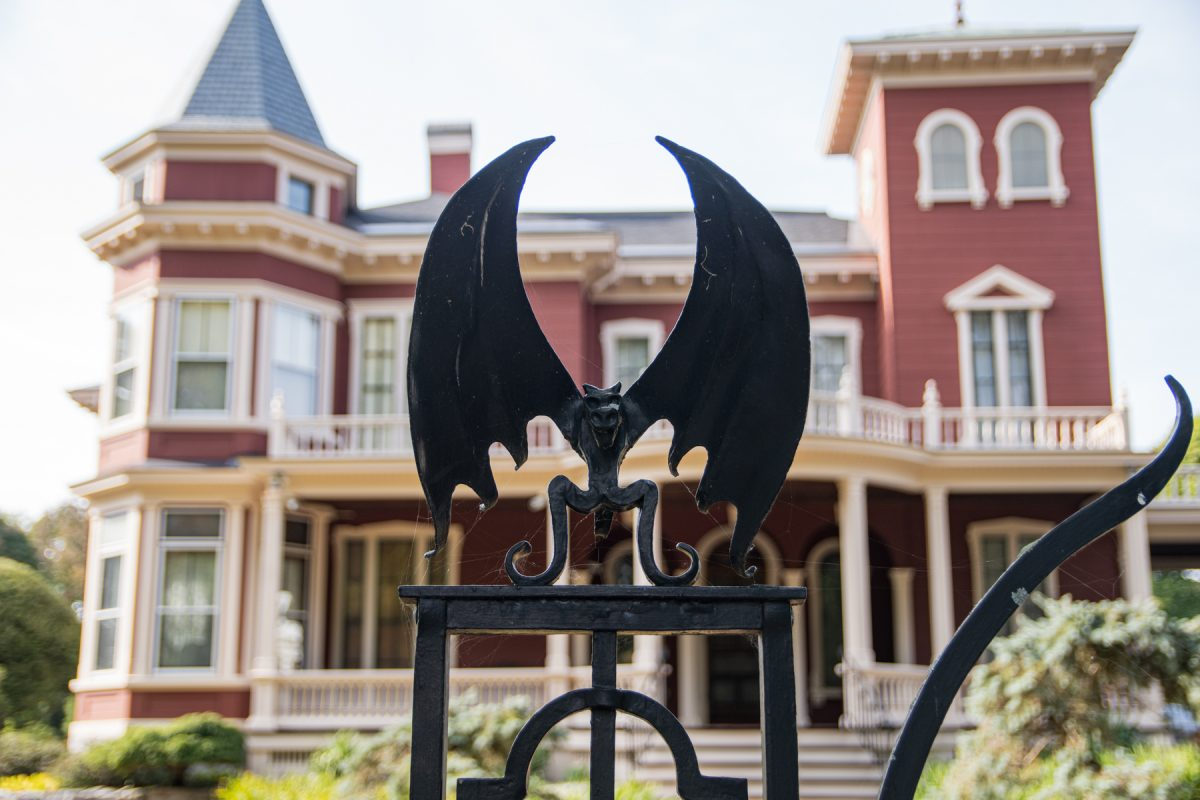 The wrought-iron bats that sit on top of Stephen King's fence that surrounds his house in Bangor, Maine.