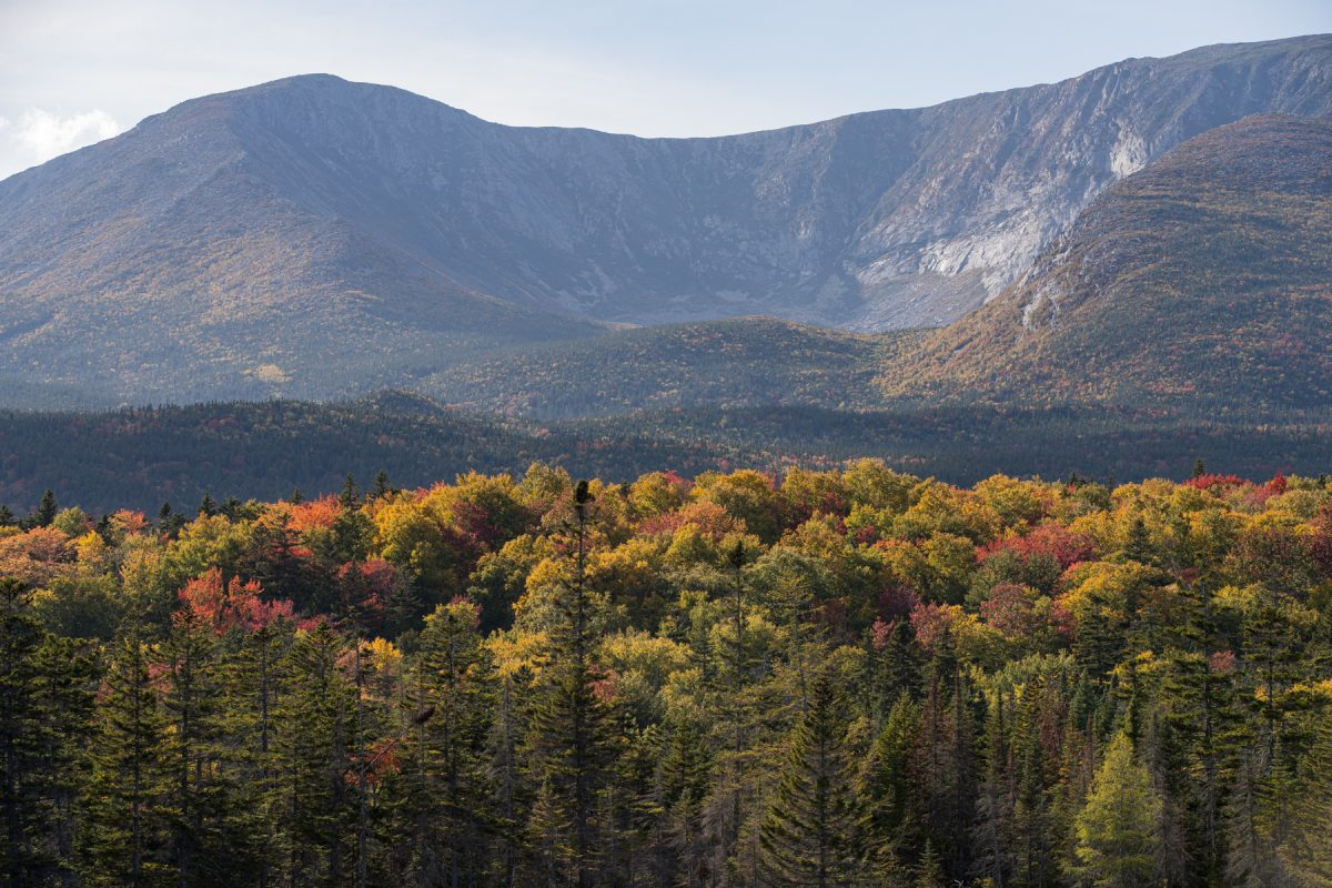 Mt. Katahdin with colorful trees in front of it during the fall in Baxter State Park in Maine.