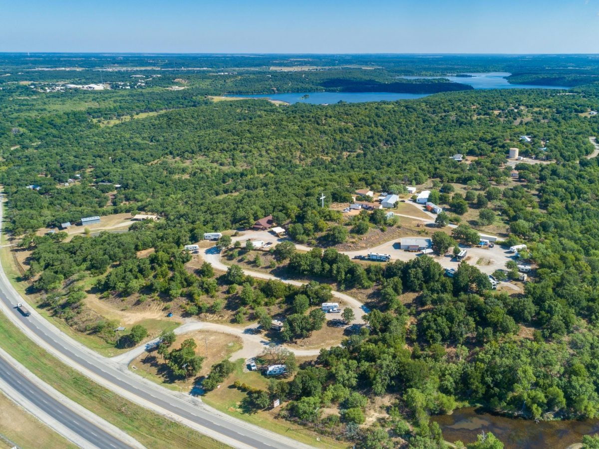 An aerial view of Eagle's Nest RV Park in Weatherford, Texas.
