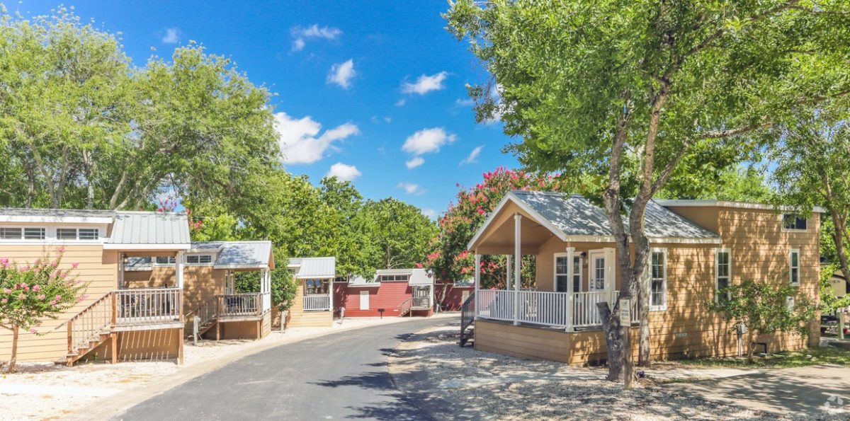 The cottages at Hill Country Cottage and RV Resort in New Braunfels, Texas.