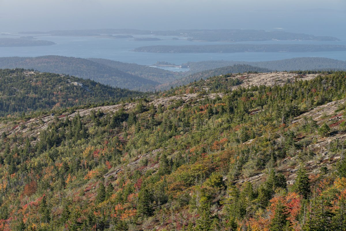The view of the coast and islands from Cadillac Mountain Summit in Acadia National Park in Maine.