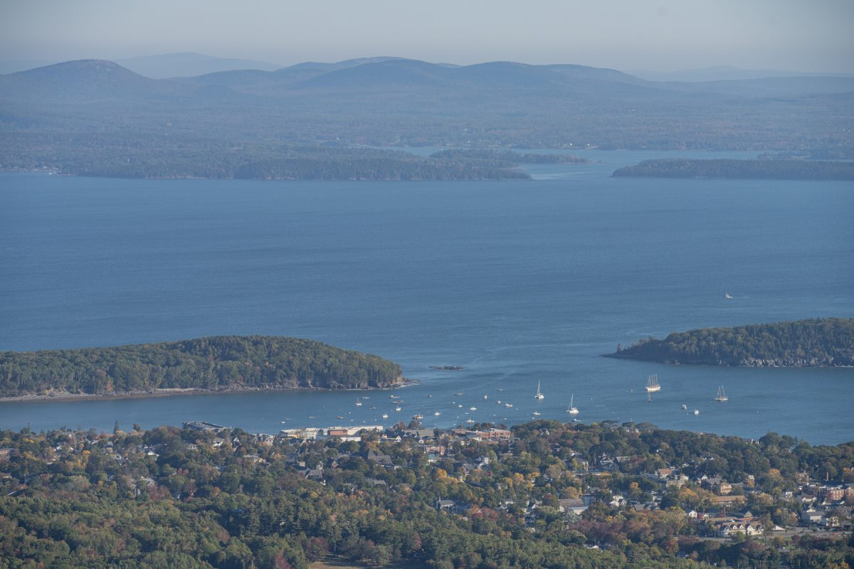 The view of Bar Harbor from Cadillac Mountain and Summit in Acadia National Park in Maine.