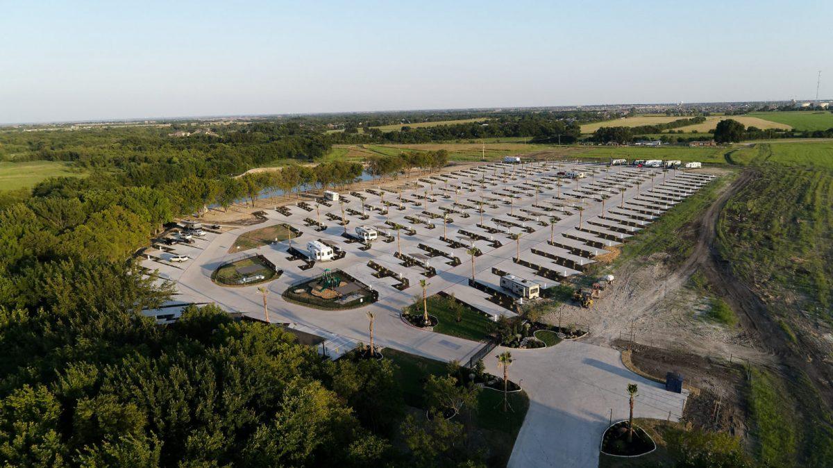 An aerial view of Northside RV Resort in Waxahachie, Texas.
